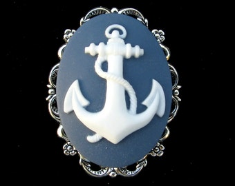 Cameo Brooch Nautical Blue and White Anchor