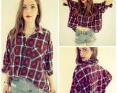 High Low Flannel Lumberjack 90s Top