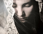 Behind The Veil 2 FREE SHIPPING Fine art photo print Portrait of girl wearing lace veil Surreal image Woman hiding Bride Cream Blue Poster