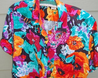 Vintage 80s Boxy Oversize Romantic Bright Garden Floral Sequined Beaded Short Sleeve Rayon Shirt