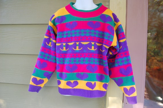 Vintage 80s Knitworks Bright Purple Fuchsia Yellow Teal Hearts Checkerboard Polka Dots Graphic Geometric Cosby Sweater Kids Size M/L