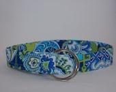 Multicolor Aqua Print Fabric Belt
