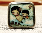 Flying Together - Original Handmade Brass Plated Adjustable Square Ring Jewelry by Danita