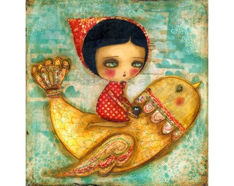Precious Cargo - Giclee Reproduction Of Original Collage Painting By Danita Art (Paper Prints and ACEO Wood Mounted)