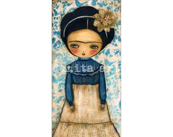 Frida Dressed In Blue And White  - Giclee Reproduction from Original Mixed Media Collage Painting By Danita Art - (5x10 INCHES)