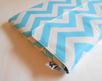 Macbook pro case, 14 inch Chromebook Case, Padded Macbook Cover - Chevron stripes girly blue - Chromebook Cover, Laptop Sleeve