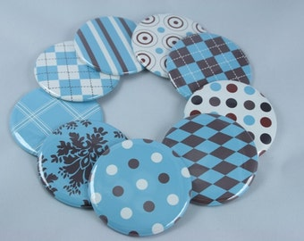 Blue Gray White Modern Baby Boy Baby Shower Favors, Set of 5