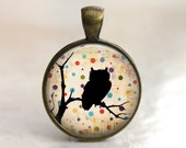 Polka Dot Owl  - Glass Pendant in an Antique Gold Bezel Setting - 25mm or 1 Inch round