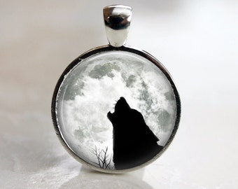 The Howling- Full Moon Pendant, Necklace or Key Chain - Choice of 4 Colors