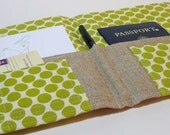 BACK in STOCK Organizer for Stationary, Travel Documents, Passports, Coupons- In Touch Clutch (tm) in Lime Green Dotty Dots