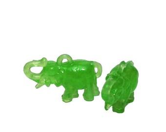 2pcs TINY JADE ELEPHANTS Vintage 60s Plastic Charms