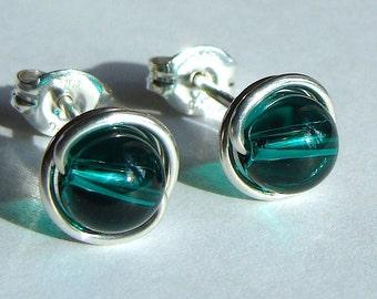Emerald Green Studs 6mm Emerald Green Swarovski Crystal Post Earrings in Sterling Silver Stud Earrings Emerald Studs Birthstone Earrings