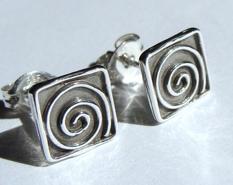 Small Swirl Studs Small Square Swirl Studs Post Earrings in Sterling Silver Stud Earrings