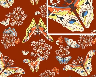 Queen Ann's Butterflies in Ruby/ Amy Butler Fabric /  Alchemy Collection / 1 Yd Quilt Apparel Fabric