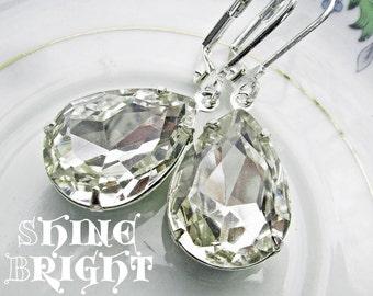 Clear Estate Style Earrings, April birthstones, white diamond inspired, Rhinestone teardrops, Swarovski, old hollywood - Shine Bright