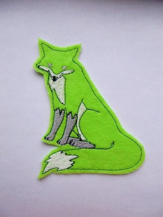 Fox, Sew On Patch, Fox Applique, Fox Patch, Neon Green Fox, Felt Fox, Fox Clothing