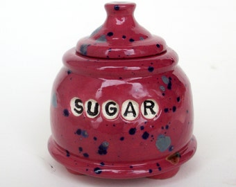Handmade Ceramic Purple Sugar Jar with Feet