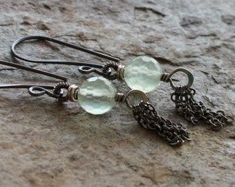 PREHNITE tassel earrings, PREHNITE earrings with sterling silver and coiled details