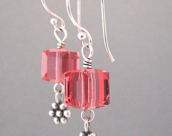 Salmon Pink Crystal Earrings - Sterling Silver Flower Charm Earrings