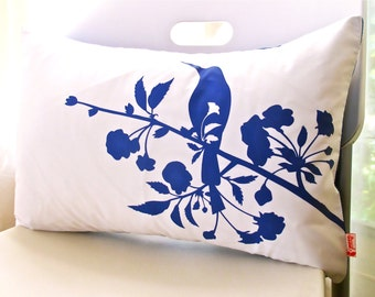 Sale Cobalt Blue Print on White Blooming Blossom Rectangle Pillow