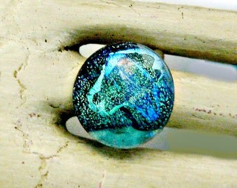Aqua Dichroic Fused Glass Sterling Silver Adjustable Ring