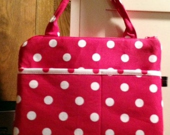 Computer Laptop Netbook iPAD Case | Red White Polka dot fabric | Ready to Ship