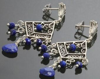 Lapis Lazuli Sterling Silver Turkish Filigree Chandelier Earrings s13e070