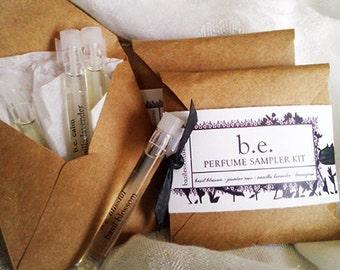 Perfume Sampler - Basil Blossom, Jasmine Rose, Vanilla Lavender, Lemongrass