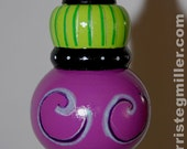 Purple and Green hand painted ornament