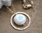 Gold Eternity Necklace, Circle Pendant, Pearl Necklace, Hammered Ring, Karma Necklace, Freshwater Pearl, Friendship Necklace, Forever