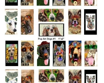 Pop Art Pups No. 1 - 1x2 Inch - Domino - Digital Collage Sheet - Instant Download