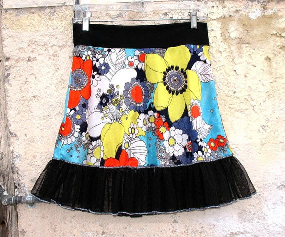 Aqua Flower Power SKIRT from 1960s Vintage Fabric Floral skirt -- Custom Size  XS Sm  Med Large XL upcycled clothing old school hippie