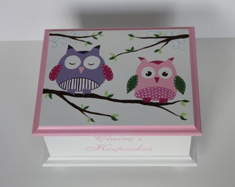 Baby Keepsake Box Memory Box for girl pink and purple owls hand painted personalized baby gift