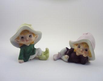 Vintage Pixie Girls Pair - Retro Homco 5213 Elf Girls