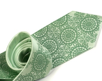 Cottage Lace, clover green necktie. Men's silk tie. Apple green tie, clover screenprint.