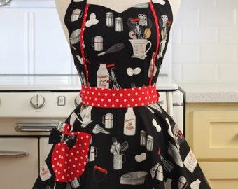 Retro Apron Vintage Style Baking Theme on Black Full Apron MAGGIE