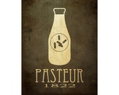 16x20 Louis Pasteur Biology Art Print, Science Poster, Microbiology Diagram, Scientific Decor, Milk Bottle Bacteria Pasteurization