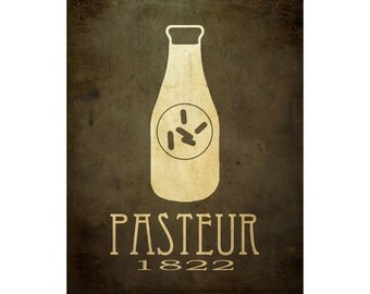 16x20 Louis Pasteur Biology Art Print, Science Poster, Microbiology Diagram, Scientific Decor, Milk Bottle Bacteria Pasteurization