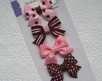 Pink and Brown Petite Bow Set