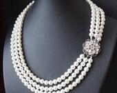 Statement Bridal Necklace, Pearl Wedding Necklace, Vintage Wedding Jewelry, Statement  Necklace, Art Deco Wedding Jewelry, CELINE