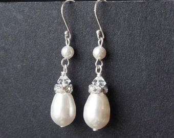 Ivory White Pearl Teardrop Wedding Bridal Earrings, STERLING SILVER Bridal Wedding Earrings, Pearl Drops, Vintage Weddings, PARFAIT