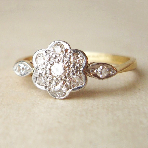 Art Deco Diamond Daisy Ring, Antique Engagement Ring, Diamond Platinum and 18k Gold Wedding Ring Approximate Size US 7.5