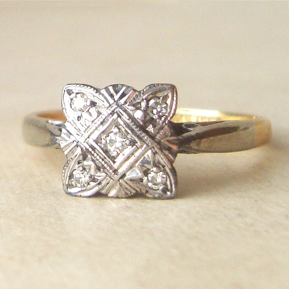Square Art Deco Diamond Engagement Ring Antique Diamond