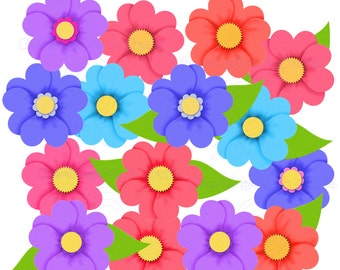 Instant Download, Posies, Flower Graphics, Digital Download, Floral Clip Art Graphics, Flower Clip Art Kits