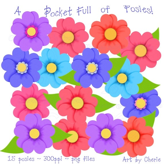 ... , Digital Download, Floral Clip Art Graphics, Flower Clip Art Kits
