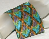 Dragon Scales, Peacock Shimmer ... Wide Beadwoven Cuff Peyote Bracelet Wide Beautiful Colors Turquoise Topaz Woman Gift Handmade Jewelry