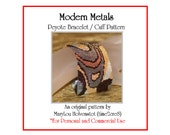 Peyote Bracelet Pattern ... MODERN METALS ... Metallic Cuff . Swirly . Mod . Elegant . Chic . Evening Wear . Make Your Own . 3 for 2