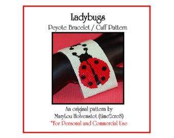 Peyote Bracelet Pattern ... LADYBUGS ... Insects . Cute . Polka Dots . Ladybird Beetles . Black . Red . Bugs . Good Luck . 3 for 2