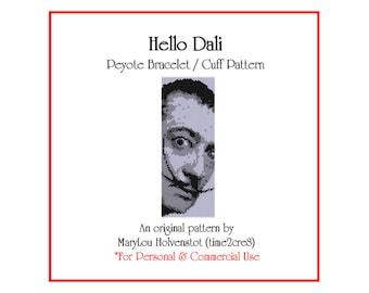 Peyote Bracelet Pattern . HELLO DALI . Wide Cuff Salvador Dali Artist Bonus Pattern Instruction Modern Art Mustache Monochromatic 3 for 2