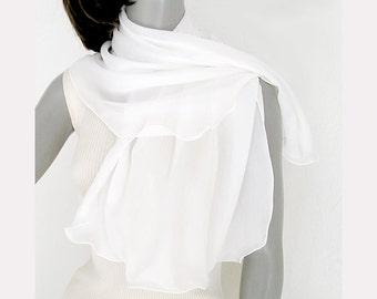 White Silk Scarf, Crepe Silk Coverup, Soft White Scarf, Petite Shoulder Wrap, 100% Silk, Natural White Silk, Artisan Handmade, Artinsilk